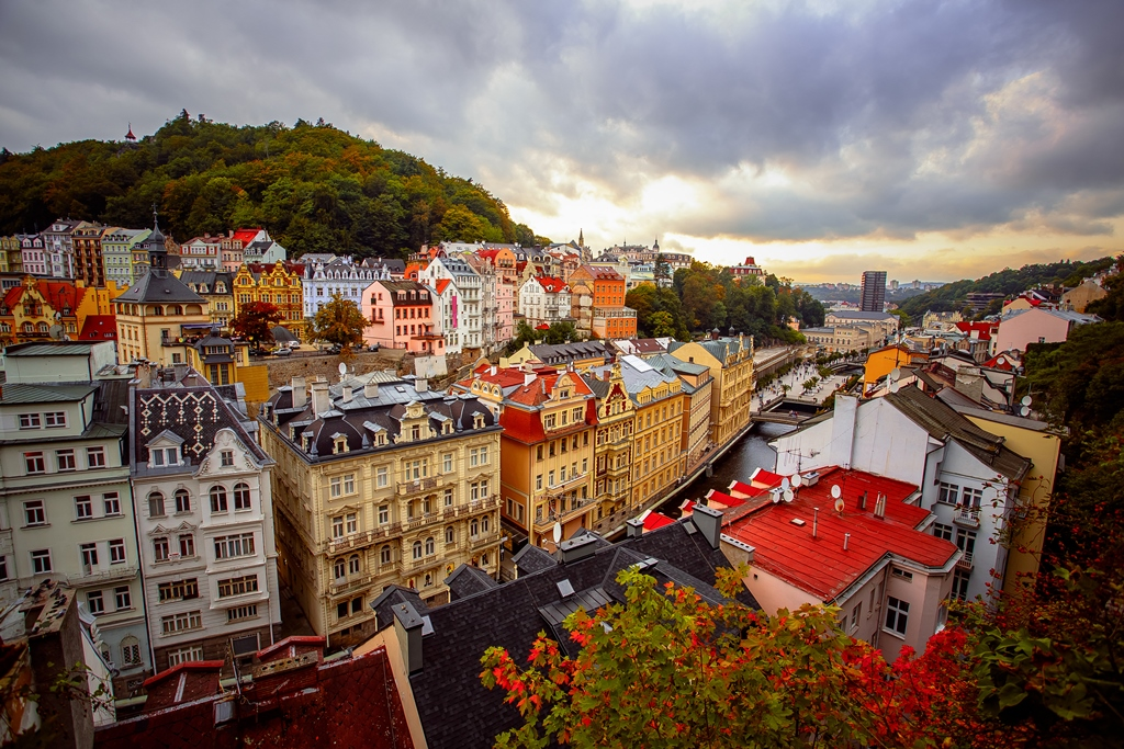 Colorful buildings of Karlovy Vary Spa Town in the Czech Republic