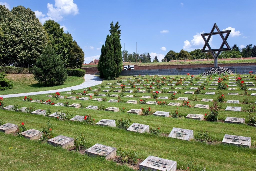 Gravestones of buried Jewish people at the Terezin Concentration Camp in the Czech Republic