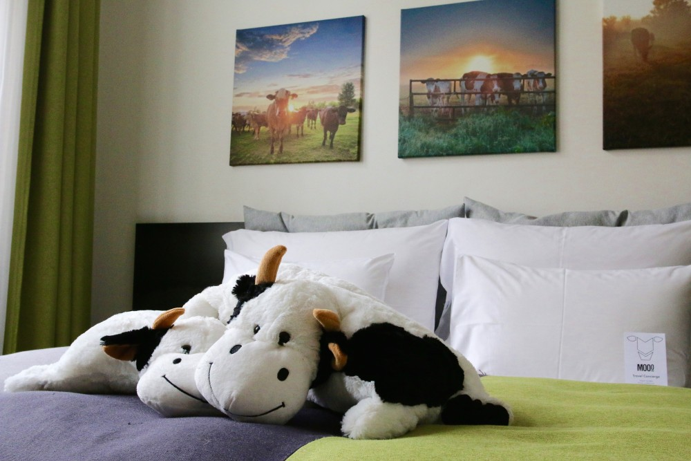 MOOo Bedroom and Cow Plush Toys at MOOo Luxury Apartment Prague Czech Republic
