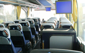 Inside of a Curreri Bus from Naples Airport to Sorrento
