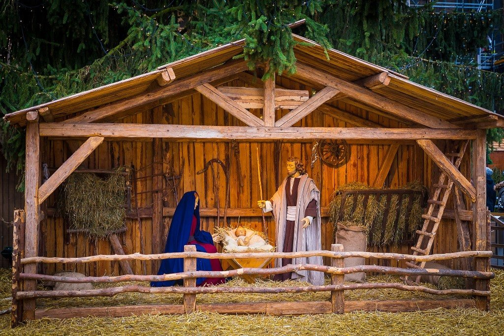 Nativity Scene at a Christmas Market