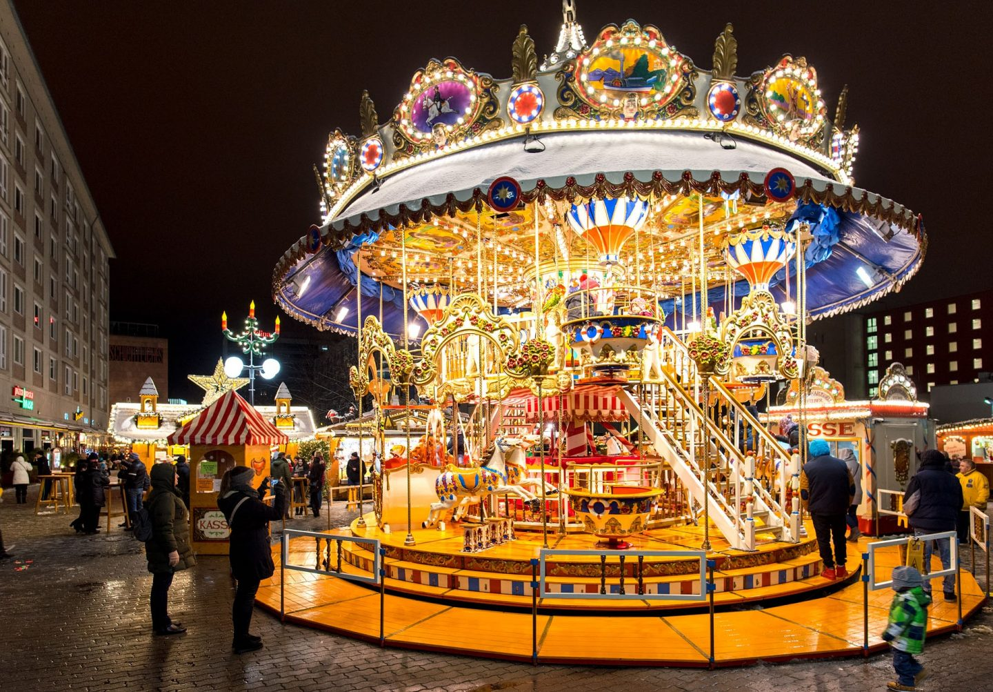 Carousel at European Christmas Market
