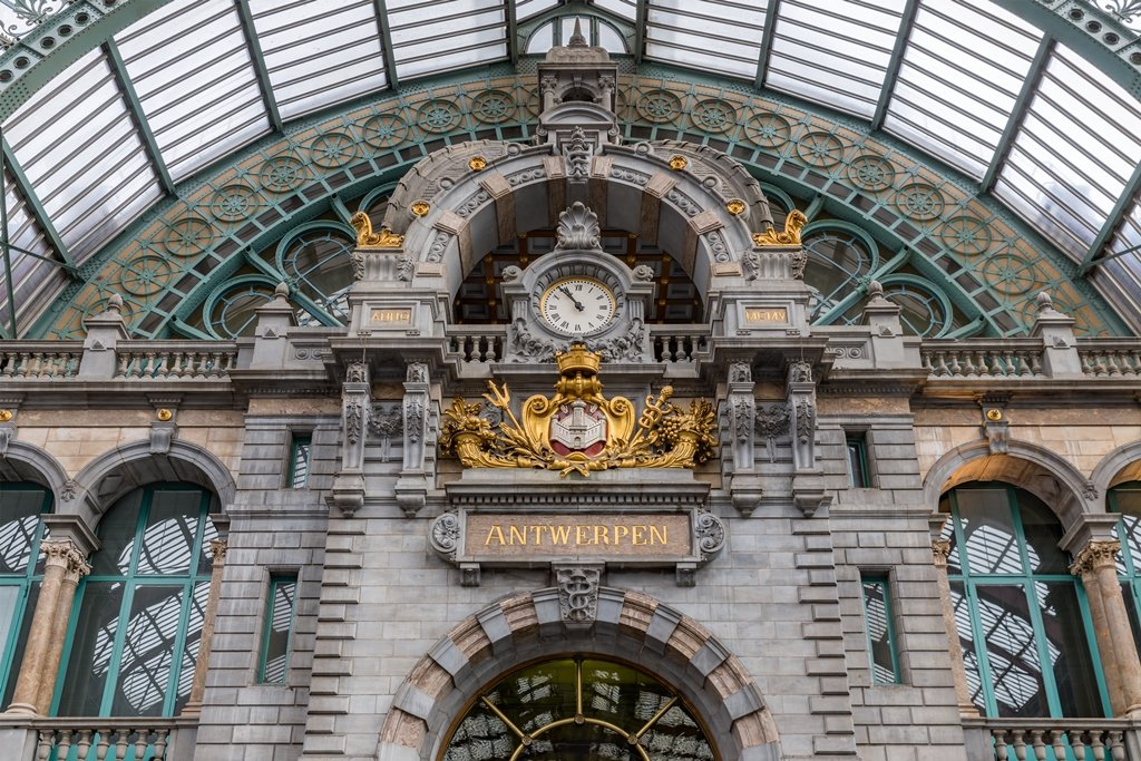 Antwerp, Belgium Train Station Art Deco Clock