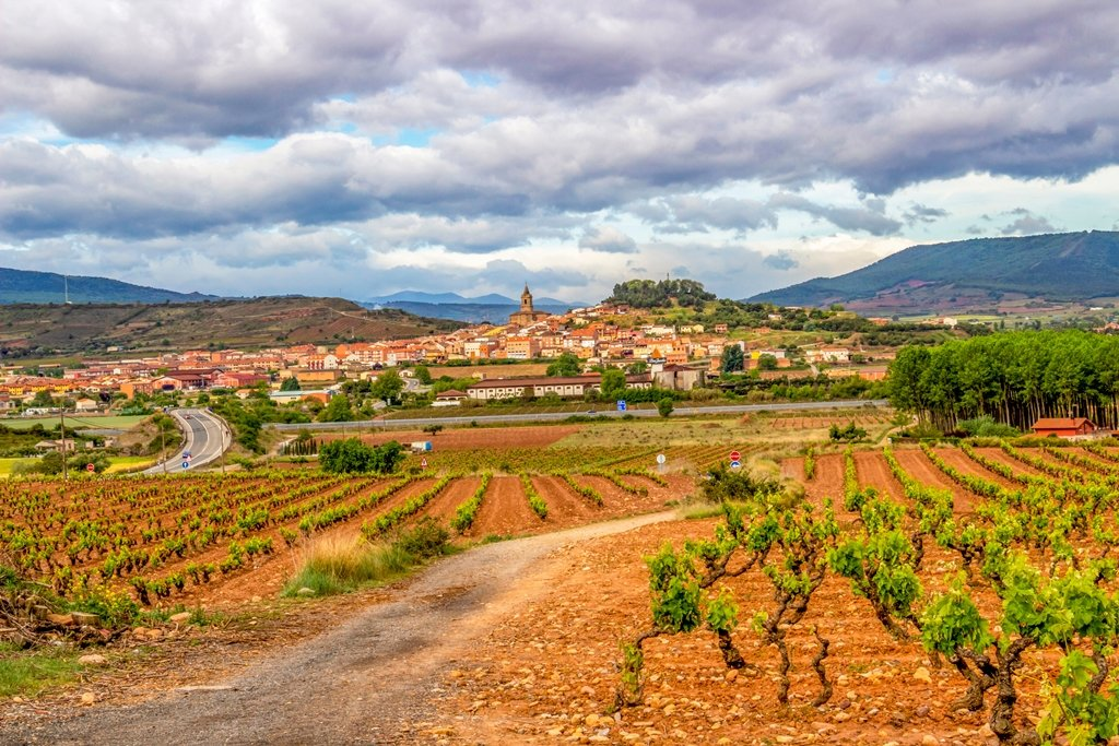 Beautiful landscape in La Rioja, Spain on the Way of St. James, Camino de Santiago with vineyards, red clay and the town of Navarrete in the distance