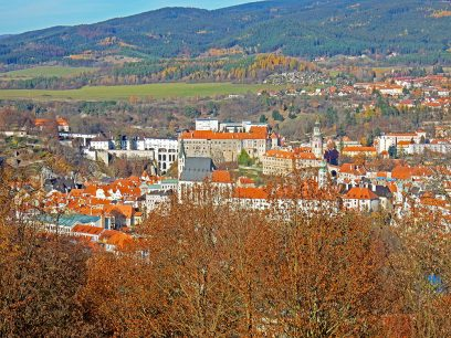 View of Cesky Krumlov from Krizovy Vrch or Hill of the Cross