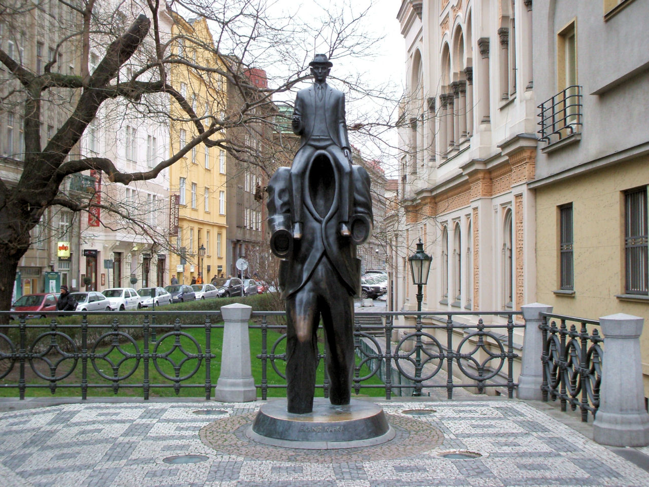 Franz Kafka Statue in Prague's Jewish Quarter, Czech Republic