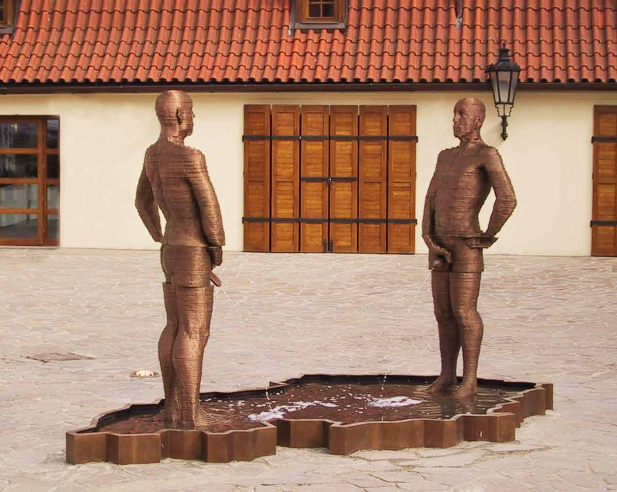 David Cerny Piss Statue in Mala Strana Prague