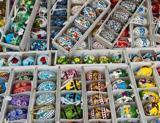 Various decorated Easter Eggs on a Prague Easter Market, Bohemia
